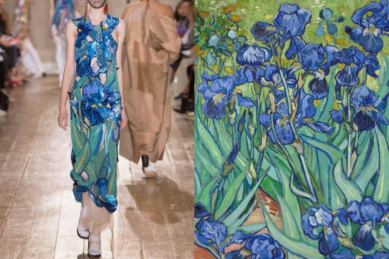 mavi çiçekli elbise tasarımı