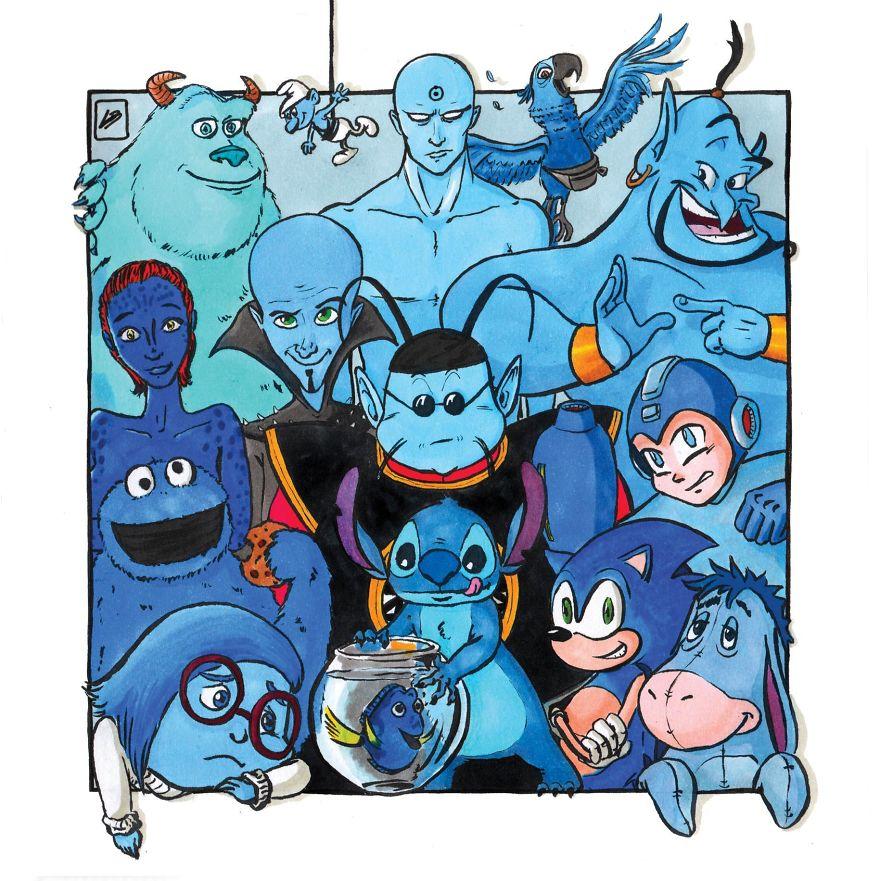 mavi renkteki süper kahramanlar