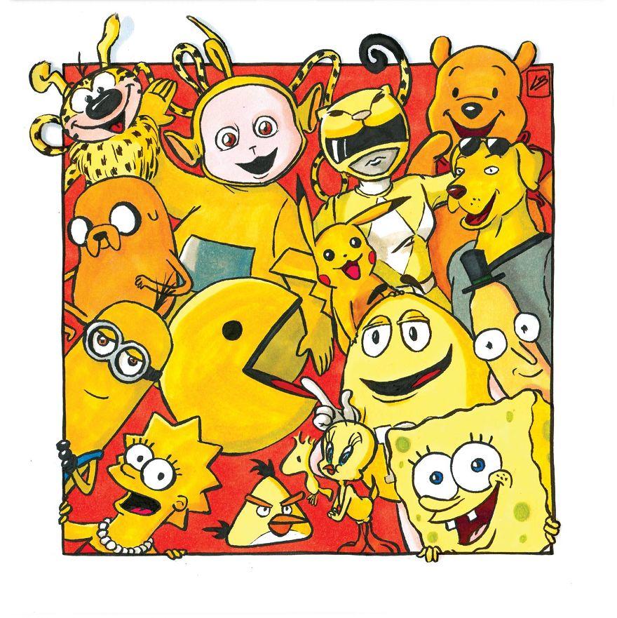 sarı renkli çizgi film karakterleri
