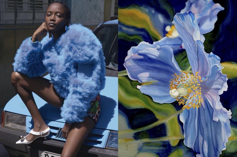 mavi çiçek ceket tasarımı