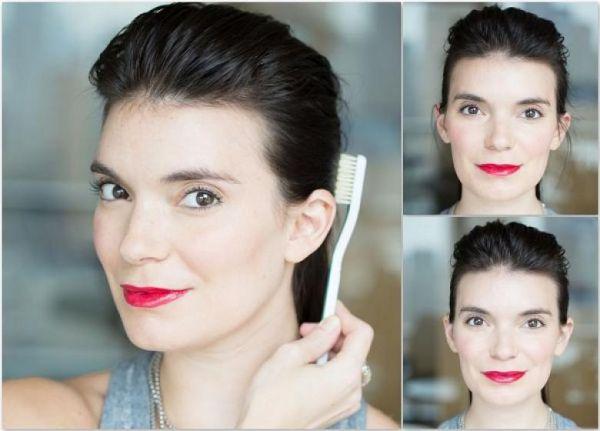 diş fırçasıyla saçları düzenle